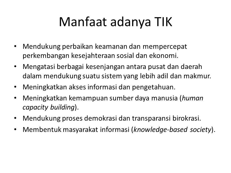Perkembangan TIK di Indonesia 1.Infrastruktur TIK a.