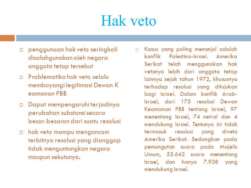 Hak veto  penggunaan hak veto seringkali disalahgunakan oleh negara anggota tetap tersebut  Problematika hak veto selalu membayangi legitimasi Dewan K eamanan PBB  Dapat mempengaruhi terjadinya perubahan substansi secara besar-besaran dari suatu resolusi  hak veto mampu mengancam terbitnya resolusi yang dianggap tidak menguntungkan negara maupun sekutunya.