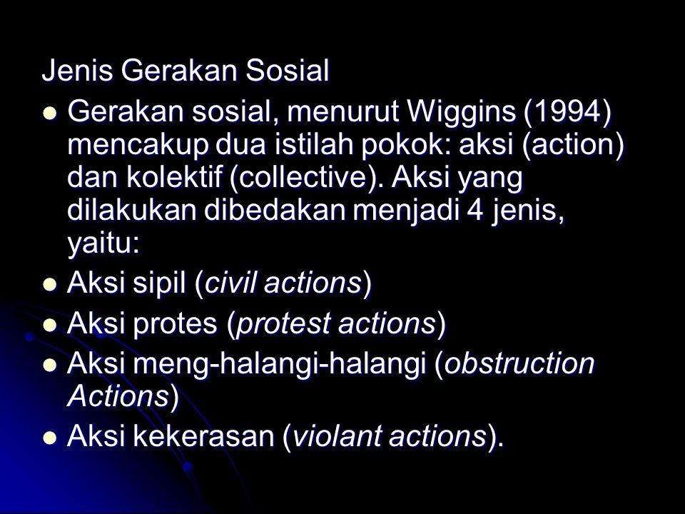 Jenis Gerakan Sosial Gerakan sosial, menurut Wiggins (1994) mencakup dua istilah pokok: aksi (action) dan kolektif (collective). Aksi yang dilakukan d