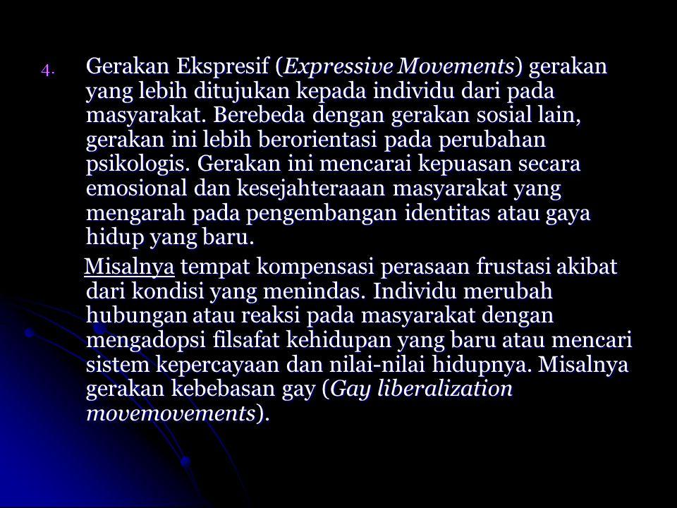 4. Gerakan Ekspresif (Expressive Movements) gerakan yang lebih ditujukan kepada individu dari pada masyarakat. Berebeda dengan gerakan sosial lain, ge