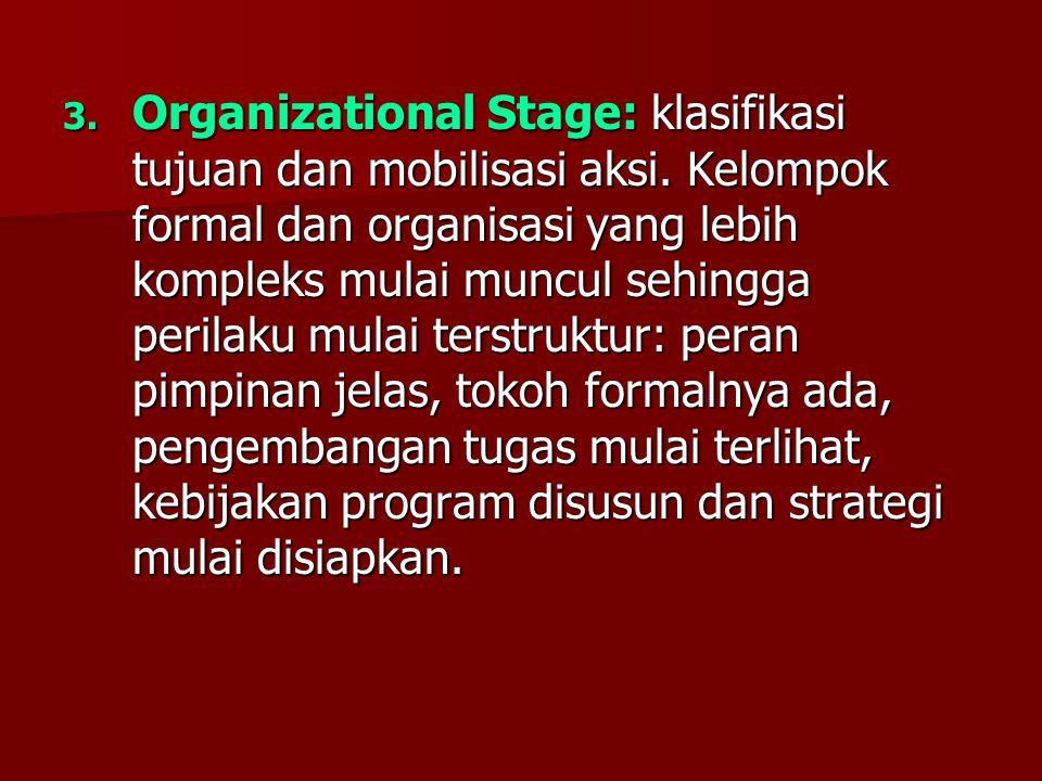 3. Organizational Stage: klasifikasi tujuan dan mobilisasi aksi. Kelompok formal dan organisasi yang lebih kompleks mulai muncul sehingga perilaku mul