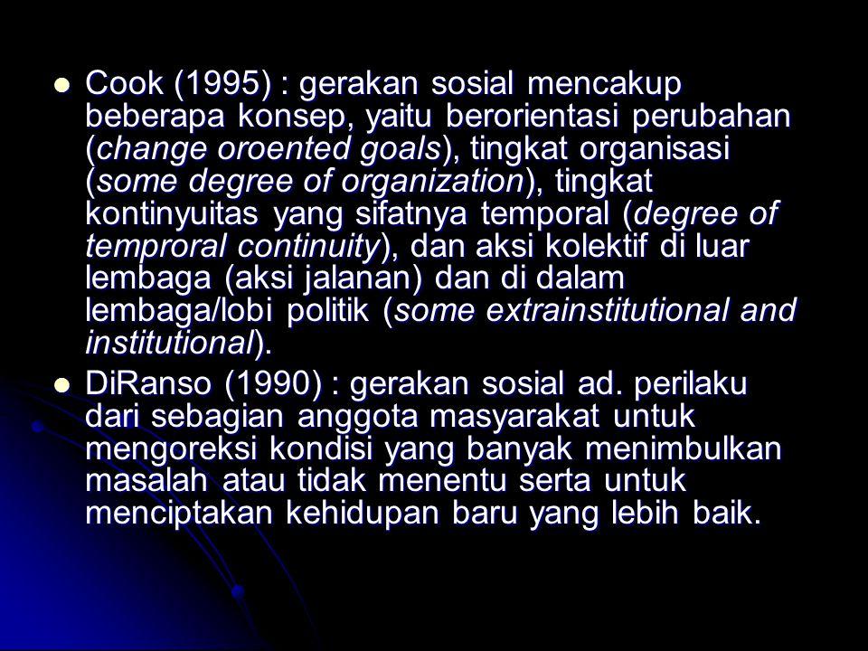 Cook (1995) : gerakan sosial mencakup beberapa konsep, yaitu berorientasi perubahan (change oroented goals), tingkat organisasi (some degree of organi