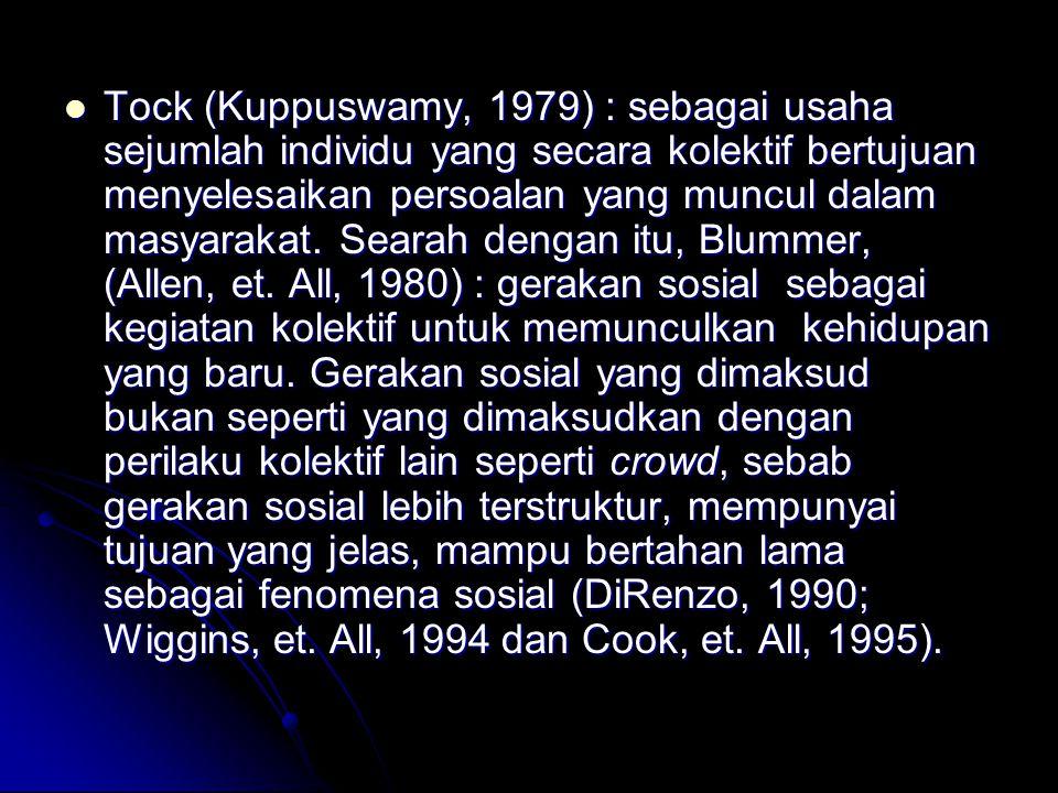 Tock (Kuppuswamy, 1979) : sebagai usaha sejumlah individu yang secara kolektif bertujuan menyelesaikan persoalan yang muncul dalam masyarakat. Searah