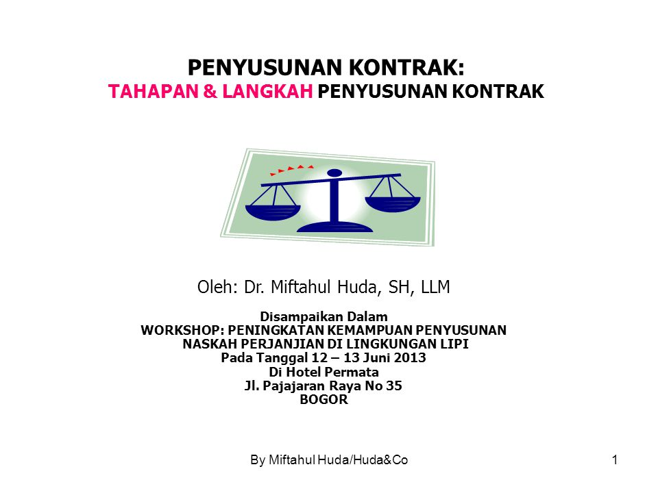 By Miftahul Huda/Huda&Co2 TAHAPAN & LANGKAH PENYUSUNAN KONTRAK RUANG LINGKUP BAHASAN 1.PENENTUAN 'HUBUNGAN' HUKUM (*) 2.PROSEDUR – PERSYARATAN PERUNDANG-UNDANGAN YANG BERLAKU 3.PENENTUAN SKEMA TRANSAKSI 4.PEMBUATAN OUTLINE KONTRAK 5.PEMBUATAN CHECK LIST (*)Issues:Transaksi JMR Project: Kuasa atau BOT.