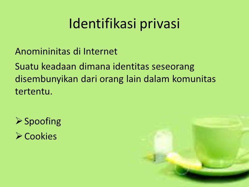 Identifikasi privasi Anomininitas di Internet Suatu keadaan dimana identitas seseorang disembunyikan dari orang lain dalam komunitas tertentu.  Spoof