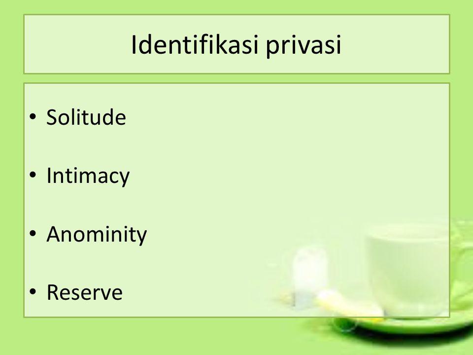 Identifikasi privasi Solitude Intimacy Anominity Reserve