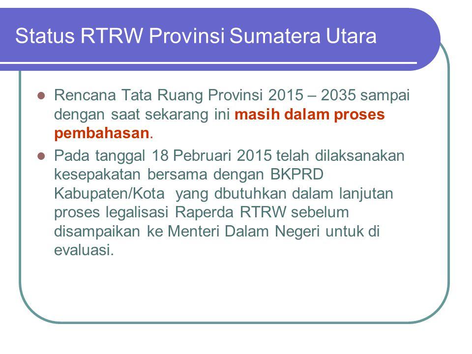 Status RTRW Provinsi Sumatera Utara Telah Perda 15 Kab/KotaMedan, Pematangsiantar, Gunungsitoli, Binjai, TebingTinggi, Tanjungbalai, Simalungun, Serda