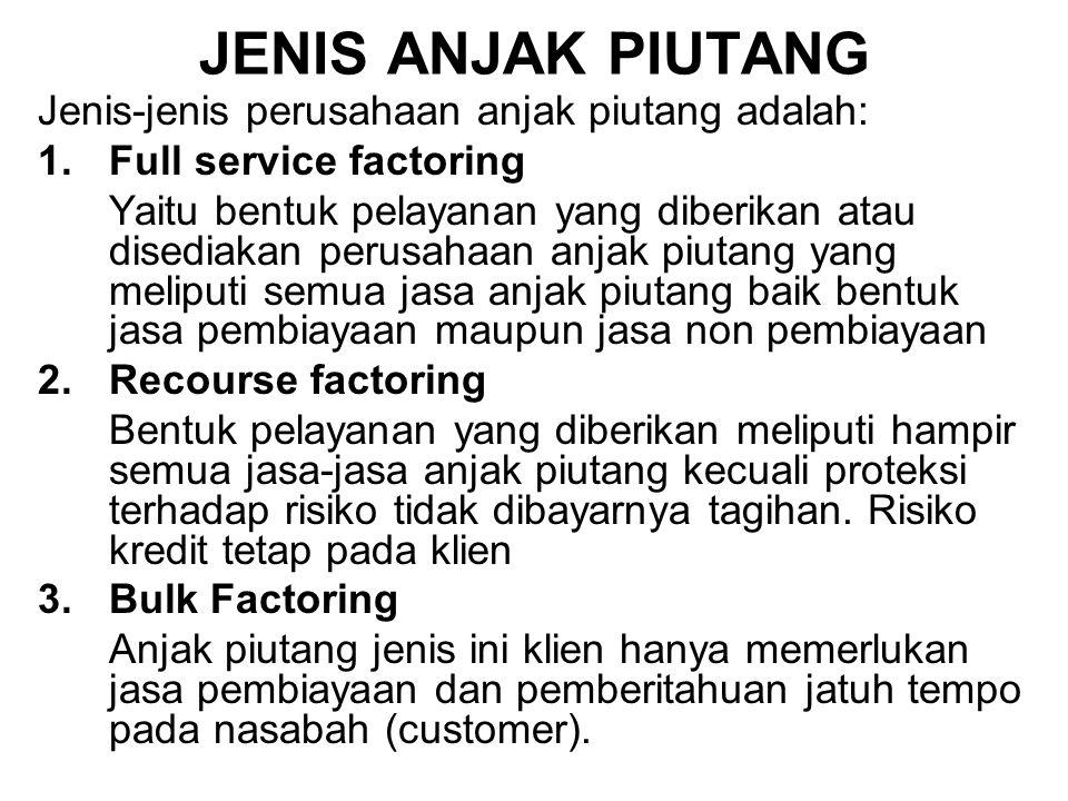 JENIS ANJAK PIUTANG Jenis-jenis perusahaan anjak piutang adalah: 1.Full service factoring Yaitu bentuk pelayanan yang diberikan atau disediakan perusa