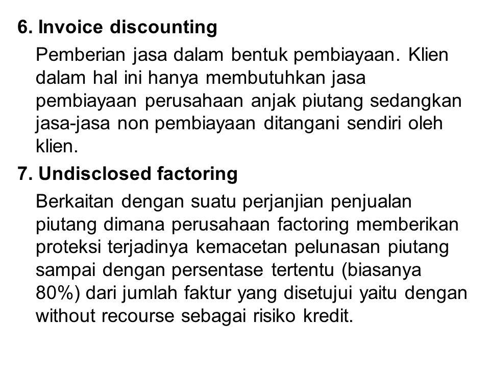 6. Invoice discounting Pemberian jasa dalam bentuk pembiayaan. Klien dalam hal ini hanya membutuhkan jasa pembiayaan perusahaan anjak piutang sedangka