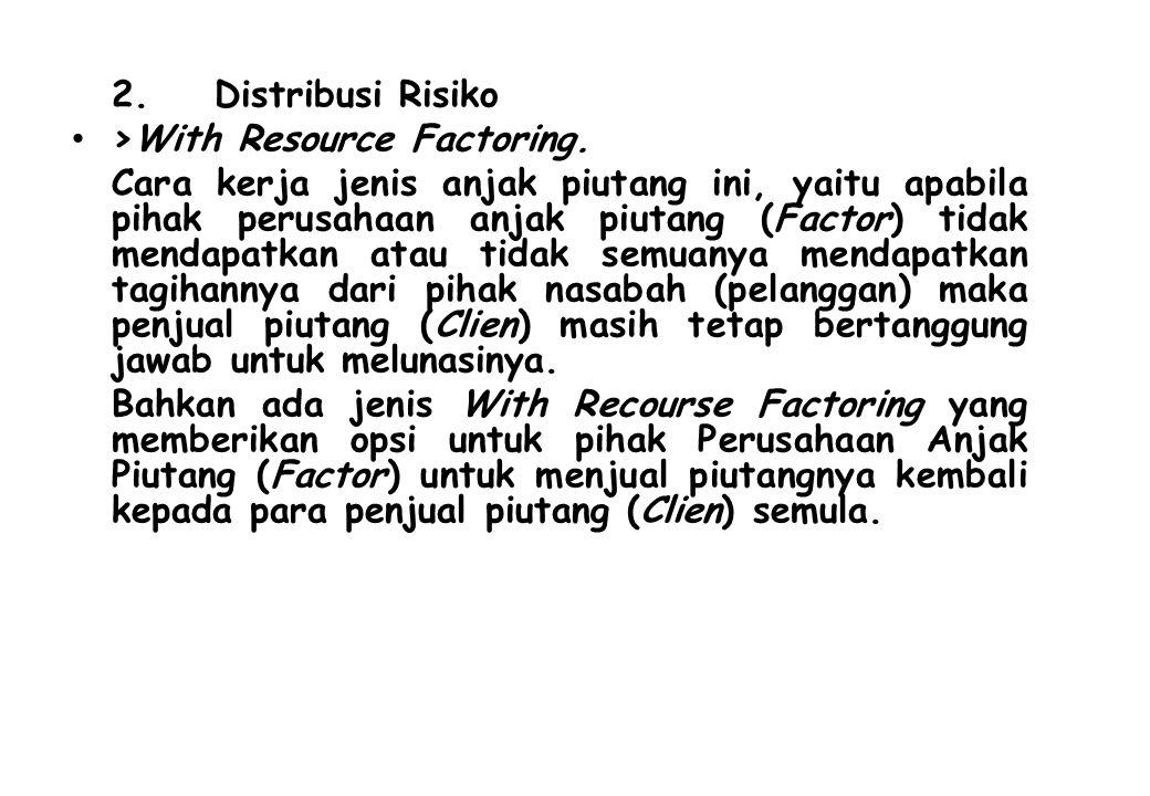2. Distribusi Risiko >With Resource Factoring. Cara kerja jenis anjak piutang ini, yaitu apabila pihak perusahaan anjak piutang (Factor) tidak mendapa