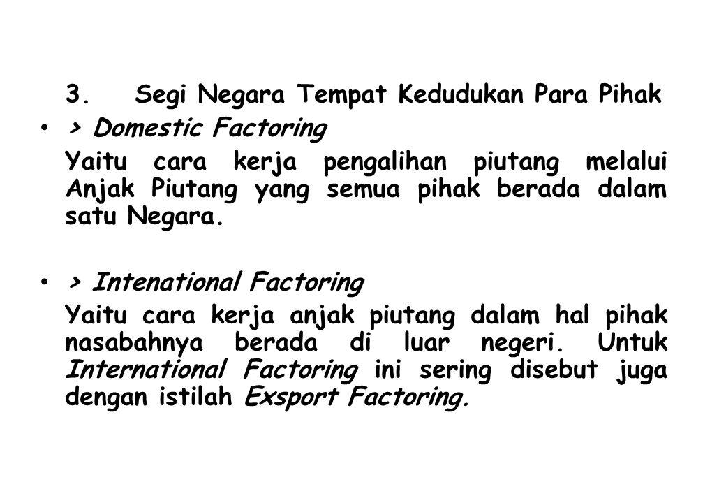 3. Segi Negara Tempat Kedudukan Para Pihak > Domestic Factoring Yaitu cara kerja pengalihan piutang melalui Anjak Piutang yang semua pihak berada dala