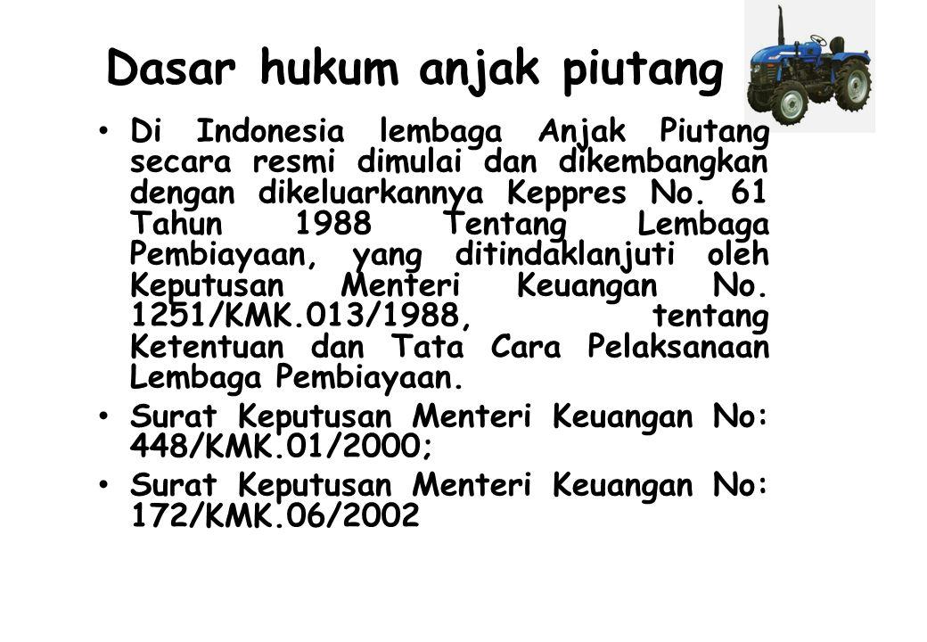 Dasar hukum anjak piutang Di Indonesia lembaga Anjak Piutang secara resmi dimulai dan dikembangkan dengan dikeluarkannya Keppres No. 61 Tahun 1988 Ten
