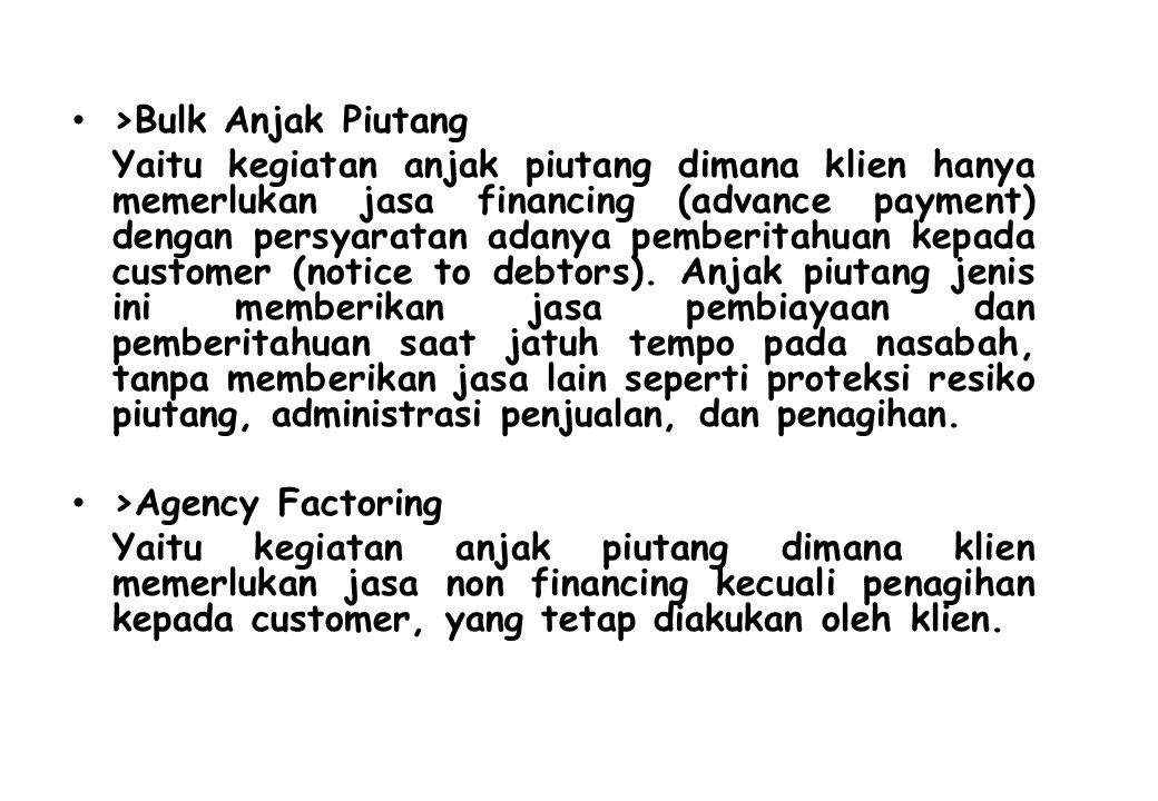 >Bulk Anjak Piutang Yaitu kegiatan anjak piutang dimana klien hanya memerlukan jasa financing (advance payment) dengan persyaratan adanya pemberitahua