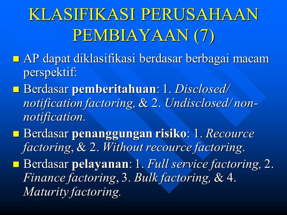 KLASIFIKASI PERUSAHAAN PEMBIAYAAN (6) Kegiatan SGU dapat dilakukan dengan dua cara: 1. Dengan hak opsi bagi lessee (finance lease), & 2. Tanpa hak ops