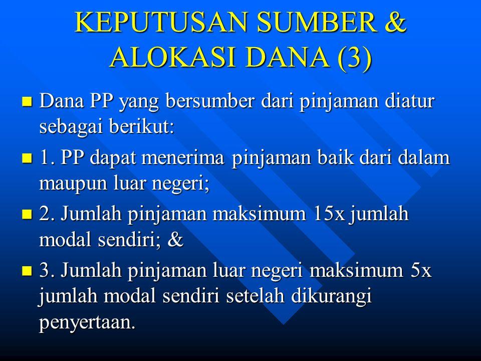 KEPUTUSAN SUMBER & ALOKASI DANA (2) 2. Penerbitan kertas komersial: digunakan oleh PP yang mempunyai peringkat utang tinggi. 2. Penerbitan kertas kome