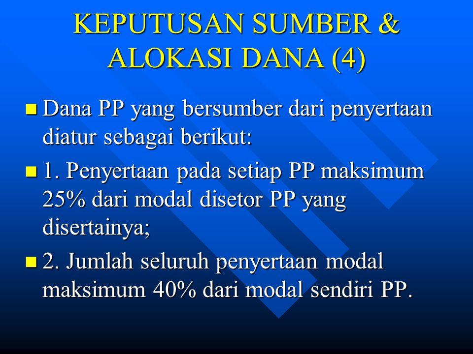 KEPUTUSAN SUMBER & ALOKASI DANA (3) Dana PP yang bersumber dari pinjaman diatur sebagai berikut: Dana PP yang bersumber dari pinjaman diatur sebagai b