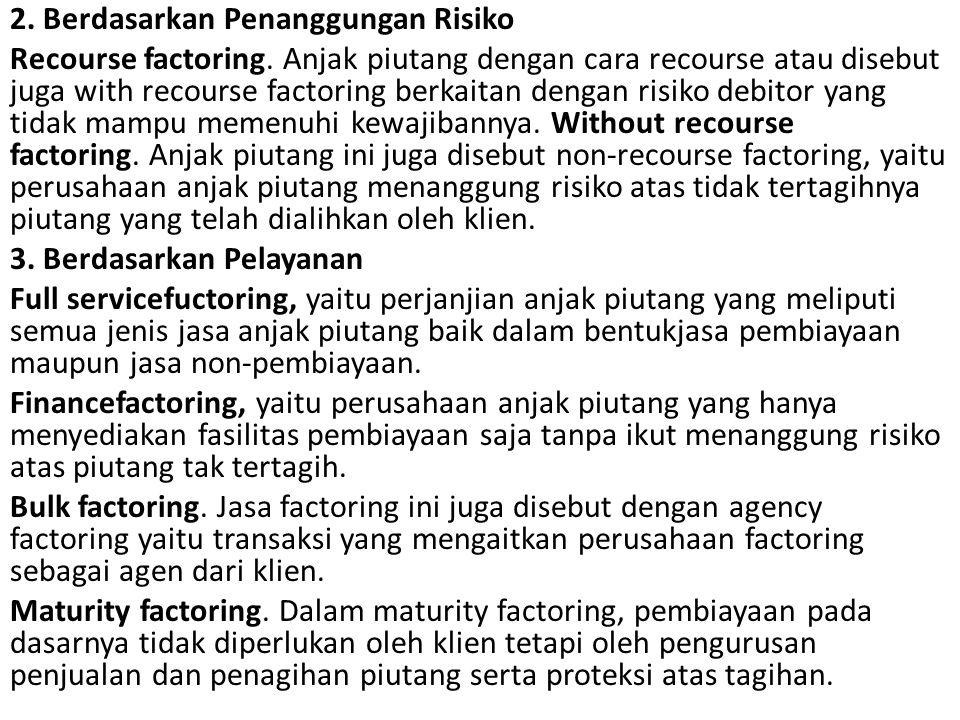 2. Berdasarkan Penanggungan Risiko Recourse factoring. Anjak piutang dengan cara recourse atau disebut juga with recourse factoring berkaitan dengan
