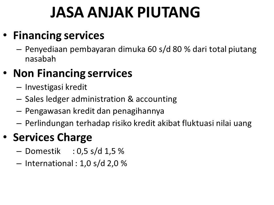 JASA ANJAK PIUTANG Financing services – Penyediaan pembayaran dimuka 60 s/d 80 % dari total piutang nasabah Non Financing serrvices – Investigasi kred