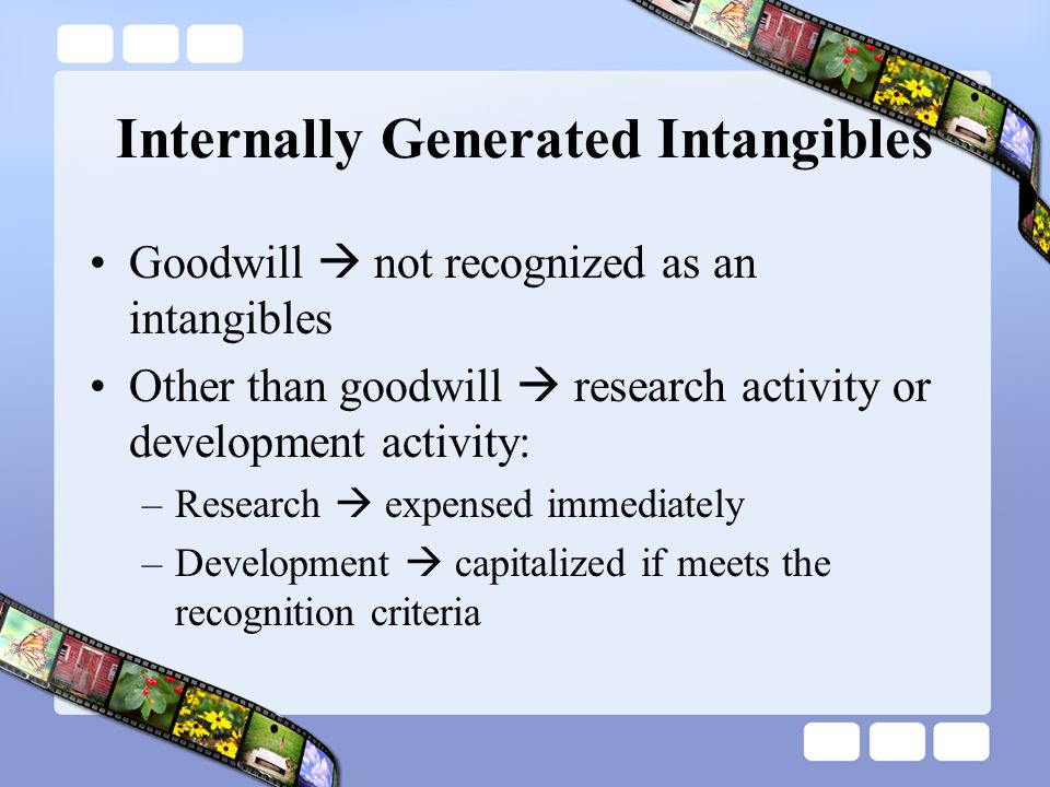 Internally Generated Intangibles Goodwill  not recognized as an intangibles Other than goodwill  research activity or development activity: –Researc