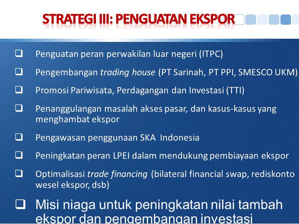  Penguatan peran perwakilan luar negeri (ITPC)  Pengembangan trading house (PT Sarinah, PT PPI, SMESCO UKM)  Promosi Pariwisata, Perdagangan dan In