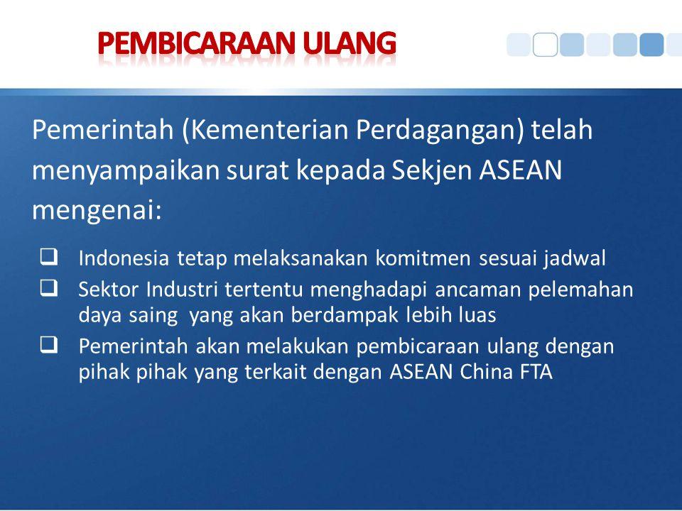 Pemerintah (Kementerian Perdagangan) telah menyampaikan surat kepada Sekjen ASEAN mengenai:  Indonesia tetap melaksanakan komitmen sesuai jadwal  Se