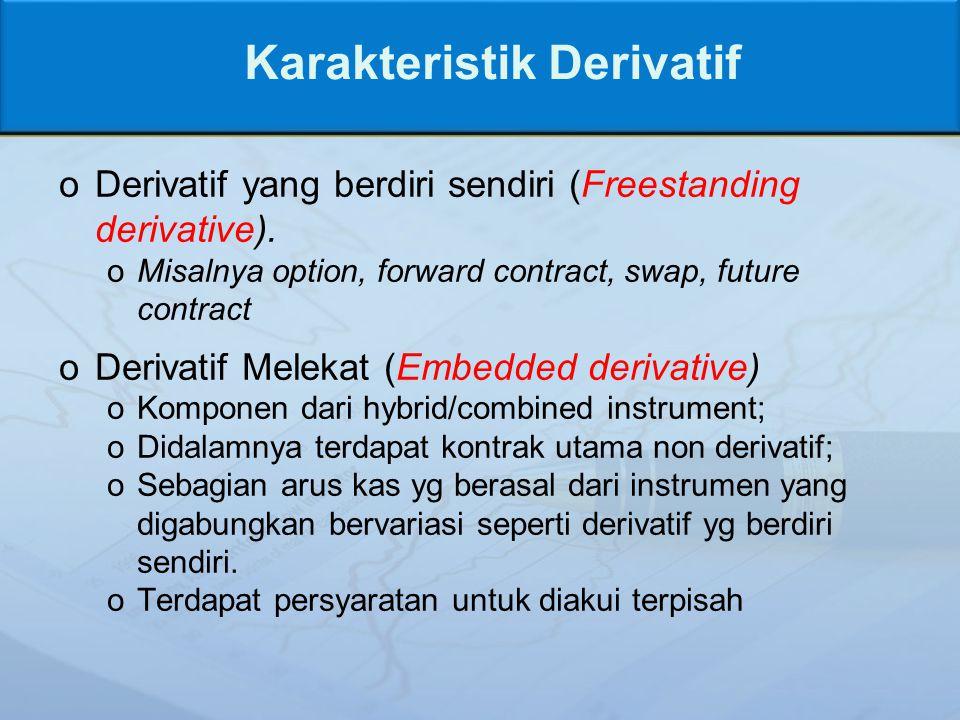 Karakteristik Derivatif oDerivatif yang berdiri sendiri (Freestanding derivative).