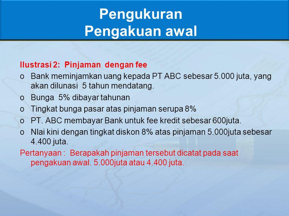 Pengukuran Pengakuan awal Ilustrasi 2: Pinjaman dengan fee oBank meminjamkan uang kepada PT ABC sebesar 5.000 juta, yang akan dilunasi 5 tahun mendatang.
