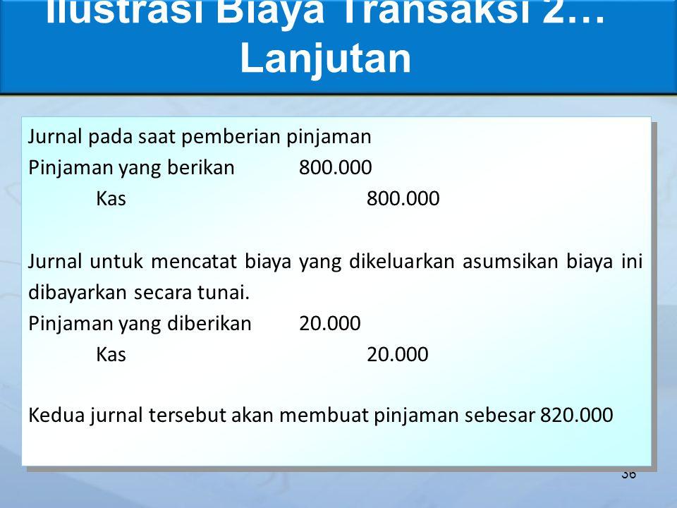 Ilustrasi Biaya Transaksi 2… Lanjutan 36 Jurnal pada saat pemberian pinjaman Pinjaman yang berikan800.000 Kas800.000 Jurnal untuk mencatat biaya yang dikeluarkan asumsikan biaya ini dibayarkan secara tunai.