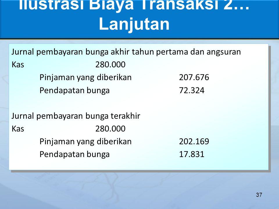 Ilustrasi Biaya Transaksi 2… Lanjutan 37 Jurnal pembayaran bunga akhir tahun pertama dan angsuran Kas280.000 Pinjaman yang diberikan207.676 Pendapatan bunga72.324 Jurnal pembayaran bunga terakhir Kas280.000 Pinjaman yang diberikan202.169 Pendapatan bunga17.831 Jurnal pembayaran bunga akhir tahun pertama dan angsuran Kas280.000 Pinjaman yang diberikan207.676 Pendapatan bunga72.324 Jurnal pembayaran bunga terakhir Kas280.000 Pinjaman yang diberikan202.169 Pendapatan bunga17.831