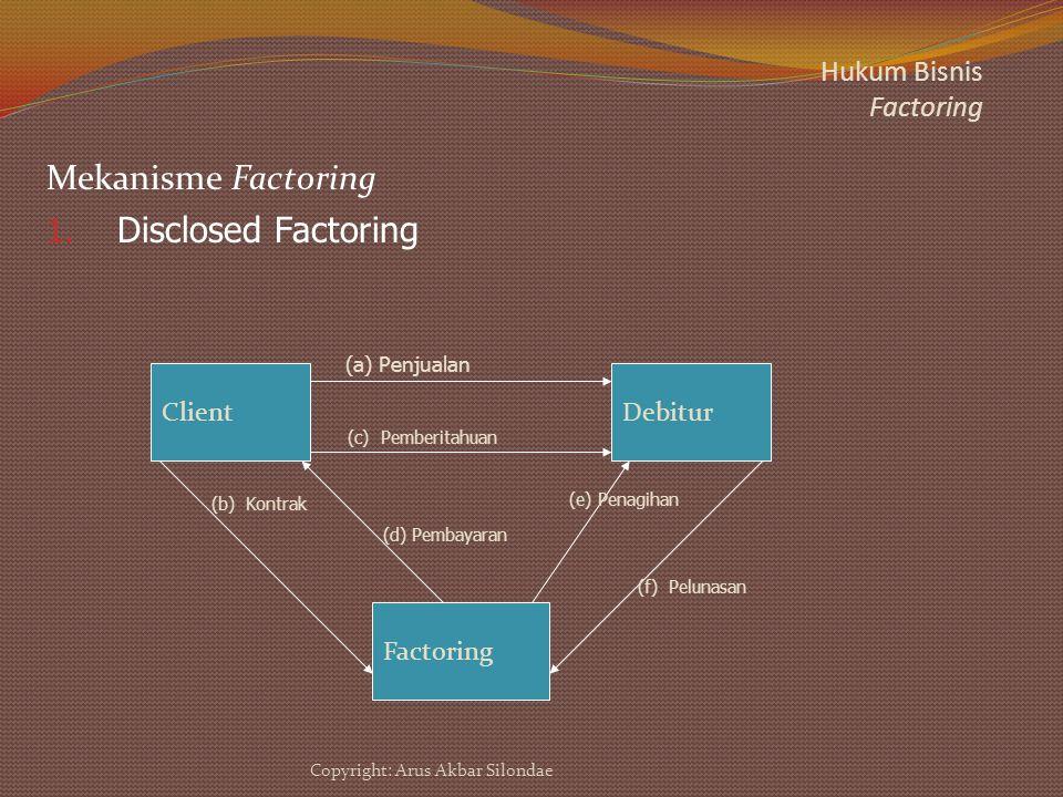 Hukum Bisnis Factoring Mekanisme Factoring 1. Disclosed Factoring ClientDebitur Factoring (a) Penjualan (b) Kontrak (c) Pemberitahuan (d) Pembayaran (