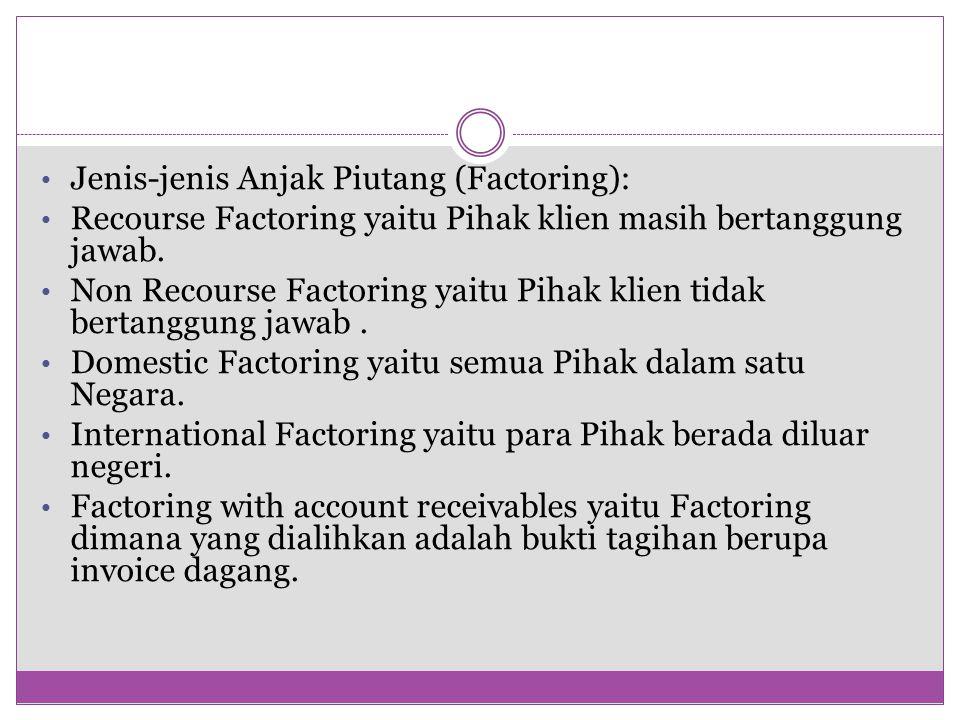 Jenis-jenis Anjak Piutang (Factoring): Recourse Factoring yaitu Pihak klien masih bertanggung jawab.