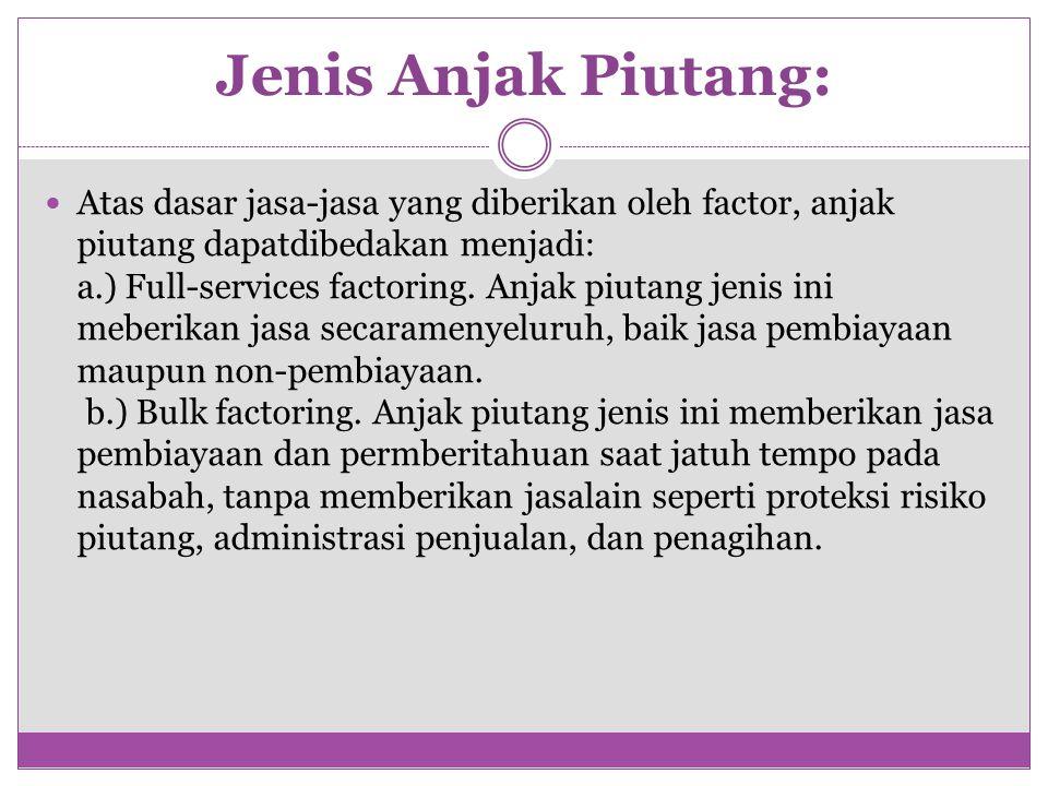 Jenis Anjak Piutang: Atas dasar jasa-jasa yang diberikan oleh factor, anjak piutang dapatdibedakan menjadi: a.) Full-services factoring.