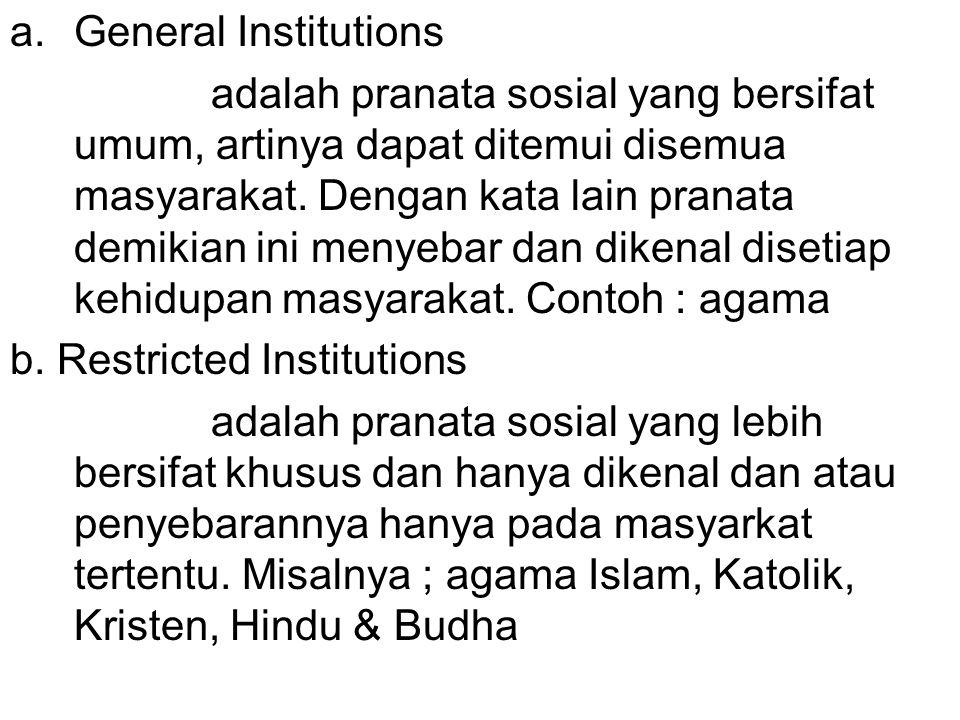 a.General Institutions adalah pranata sosial yang bersifat umum, artinya dapat ditemui disemua masyarakat.