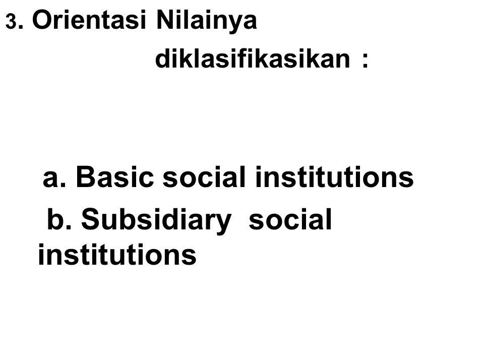 3.Orientasi Nilainya diklasifikasikan : a. Basic social institutions b.