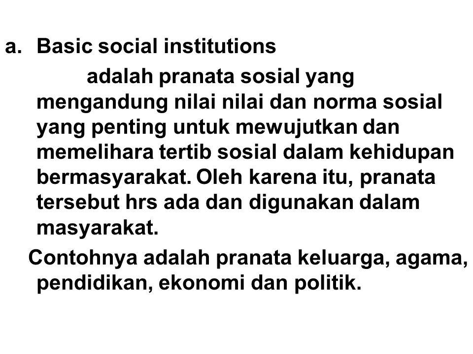 a.Basic social institutions adalah pranata sosial yang mengandung nilai nilai dan norma sosial yang penting untuk mewujutkan dan memelihara tertib sosial dalam kehidupan bermasyarakat.