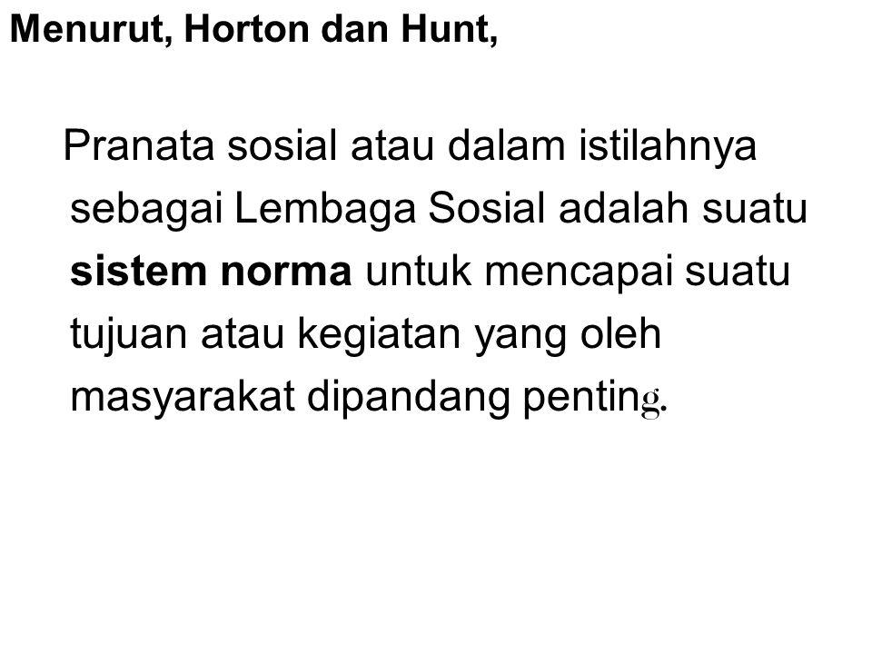 Menurut, Horton dan Hunt, Pranata sosial atau dalam istilahnya sebagai Lembaga Sosial adalah suatu sistem norma untuk mencapai suatu tujuan atau kegiatan yang oleh masyarakat dipandang pentin g.