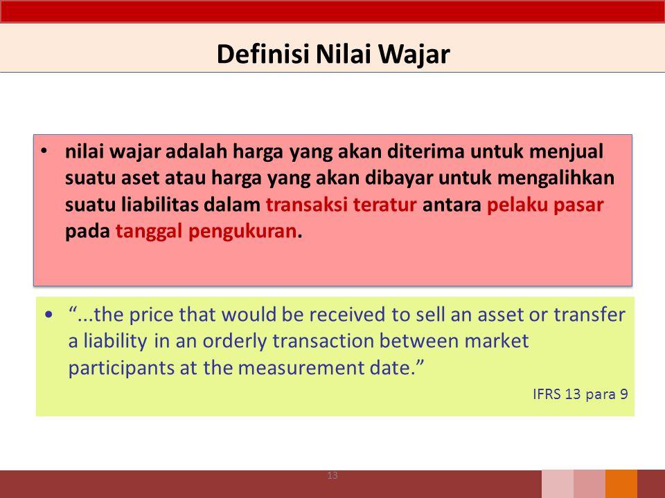 Definisi Nilai Wajar nilai wajar adalah harga yang akan diterima untuk menjual suatu aset atau harga yang akan dibayar untuk mengalihkan suatu liabili