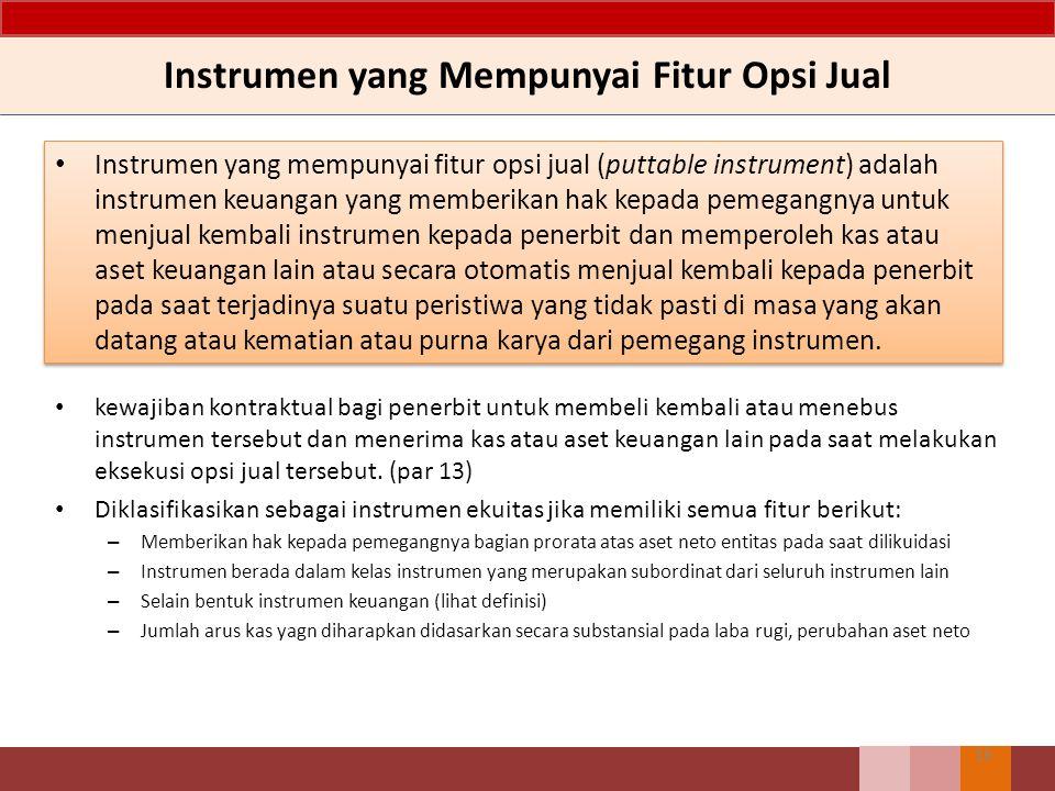 Instrumen yang Mempunyai Fitur Opsi Jual Instrumen yang mempunyai fitur opsi jual (puttable instrument) adalah instrumen keuangan yang memberikan hak