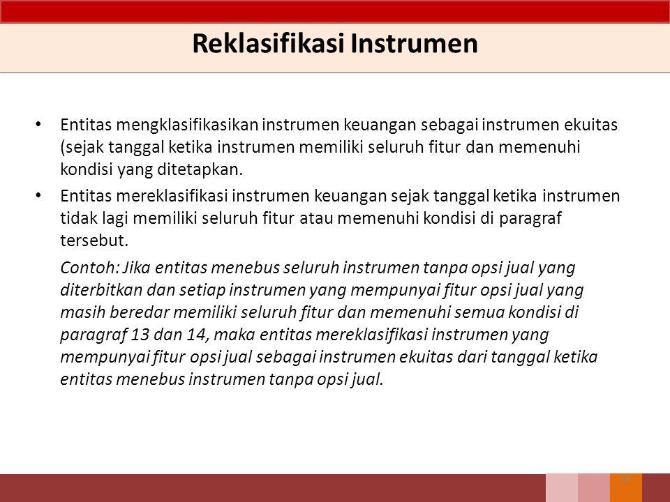 Reklasifikasi Instrumen Entitas mengklasifikasikan instrumen keuangan sebagai instrumen ekuitas (sejak tanggal ketika instrumen memiliki seluruh fitur