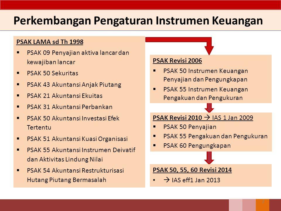 2 Perkembangan Pengaturan Instrumen Keuangan PSAK LAMA sd Th 1998  PSAK 09 Penyajian aktiva lancar dan kewajiban lancar  PSAK 50 Sekuritas  PSAK 43