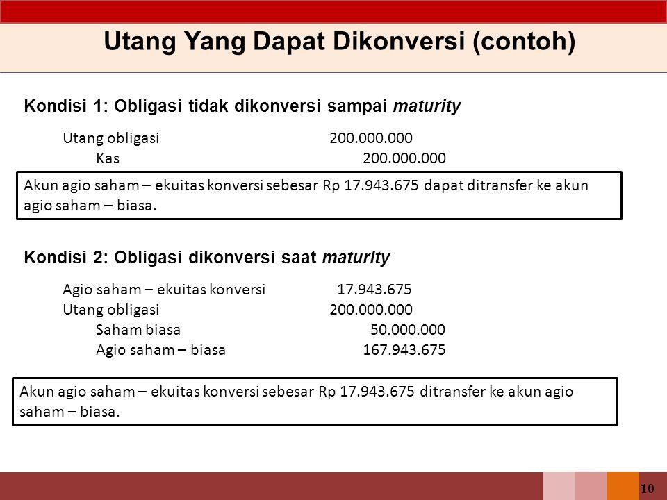 10 Kondisi 1: Obligasi tidak dikonversi sampai maturity Utang Yang Dapat Dikonversi (contoh) Utang obligasi200.000.000 Kas200.000.000 Kondisi 2: Oblig
