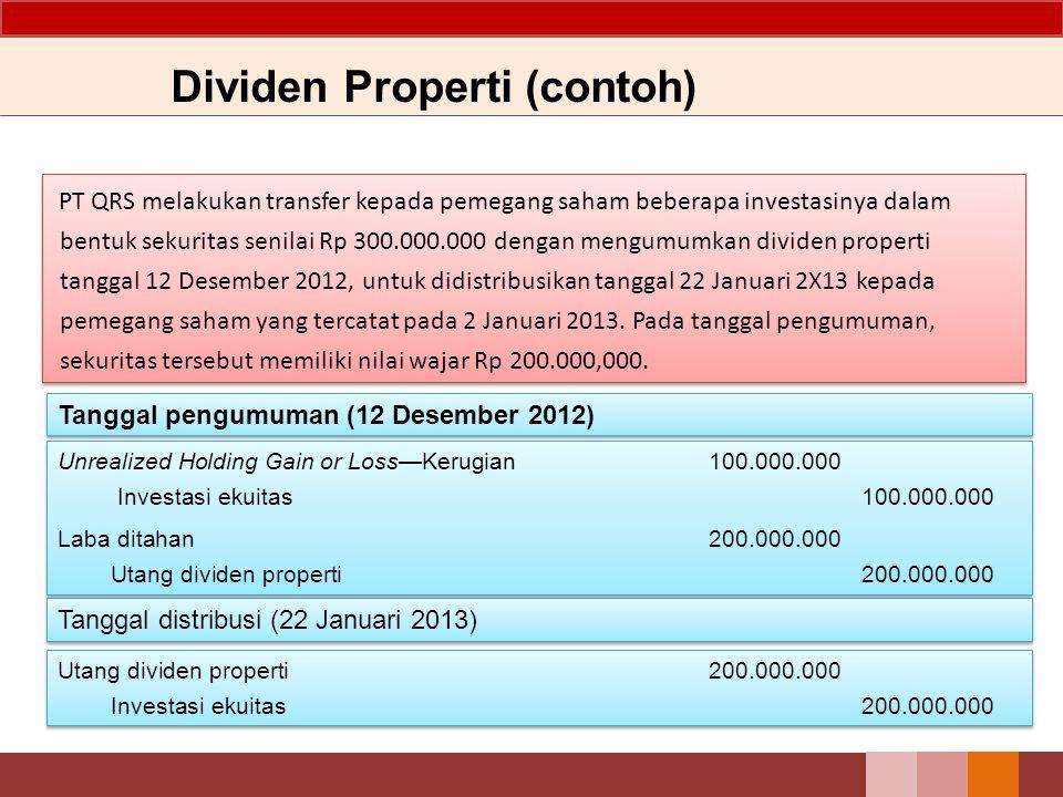 Dividen Properti (contoh) PT QRS melakukan transfer kepada pemegang saham beberapa investasinya dalam bentuk sekuritas senilai Rp 300.000.000 dengan m