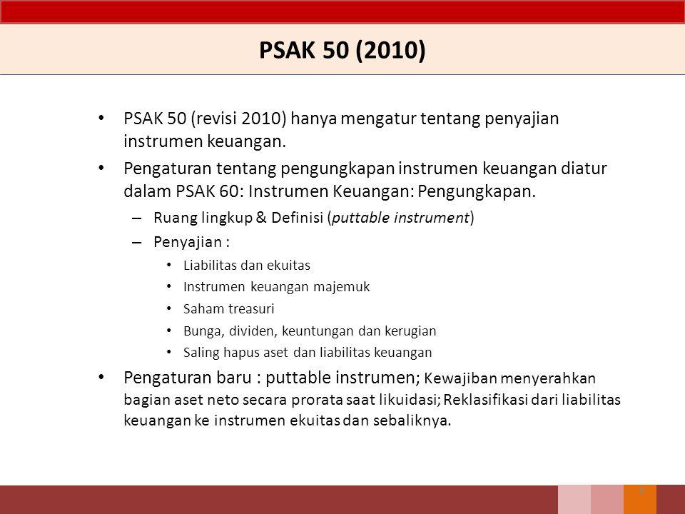 Isi PSAK 50 – Revisi 2014 Tujuan, Ruang Lingkup dan Definisi Penyajian – Liabilitas dan Ekuitas – Instrumen Keuangan Majemuk – Saham yang Diperoleh Kembali – Saham, Deviden, Kerugian dan Keuangan – Saling Hapus antar Aset Keuangan dan Liabilitas Keuangan (revisi 2013) Pedoman Penerapan yang merupakan bagian yang tidak terpisahkan dari PSAK 50 Contoh Ilustrasi, melengkapi tetapi bukan merupakan bagian dari PSAK 50 7