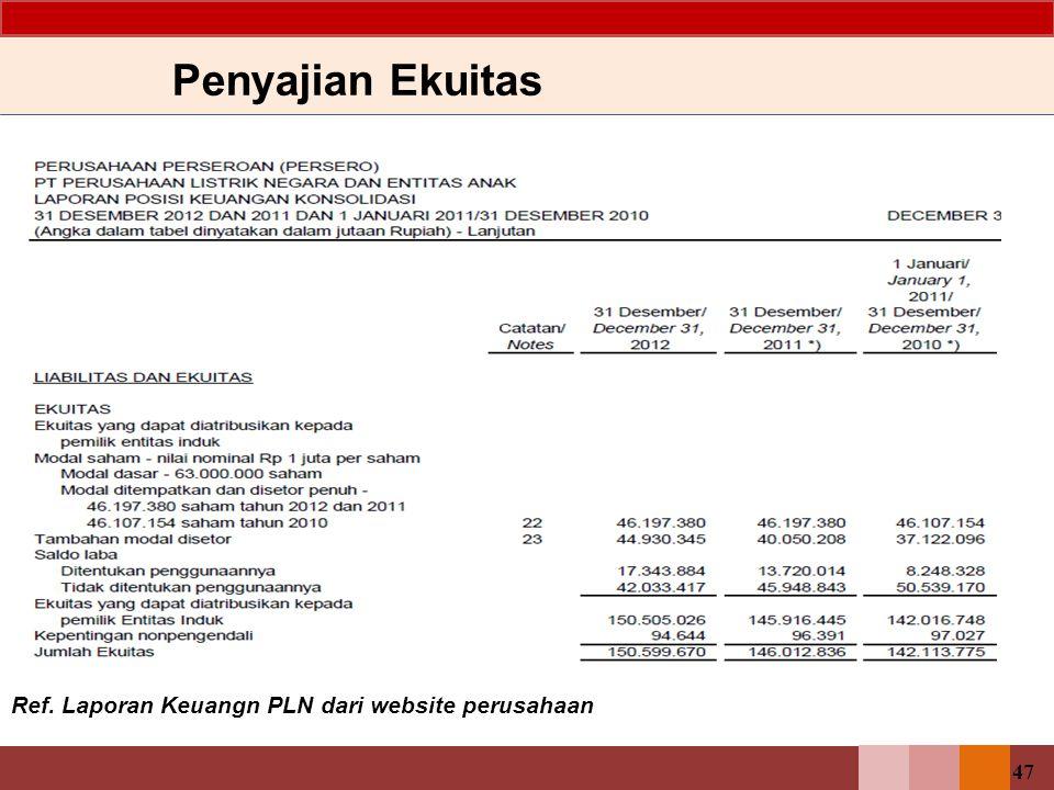 47 Penyajian Ekuitas Ref. Laporan Keuangn PLN dari website perusahaan