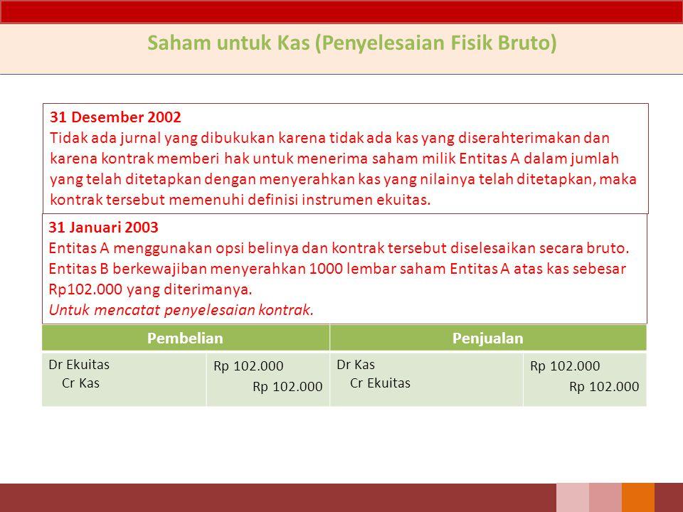 31 Desember 2002 Tidak ada jurnal yang dibukukan karena tidak ada kas yang diserahterimakan dan karena kontrak memberi hak untuk menerima saham milik