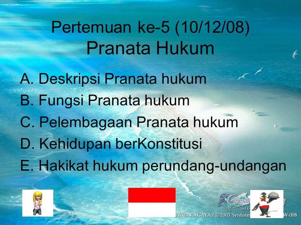 Pertemuan ke-5 (10/12/08) Pranata Hukum A. Deskripsi Pranata hukum B. Fungsi Pranata hukum C. Pelembagaan Pranata hukum D. Kehidupan berKonstitusi E.