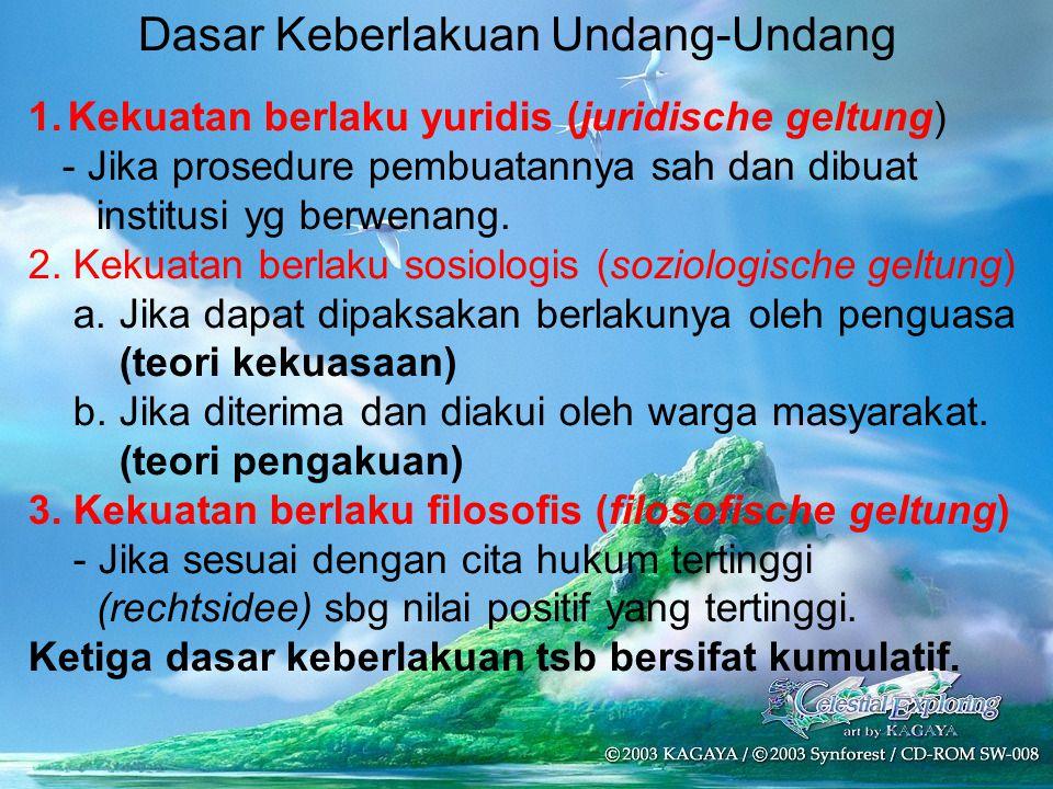 Dasar Keberlakuan Undang-Undang 1.Kekuatan berlaku yuridis (juridische geltung) - Jika prosedure pembuatannya sah dan dibuat institusi yg berwenang. 2