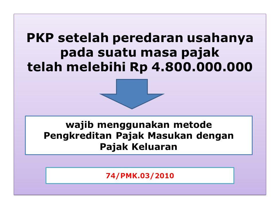 PKP setelah peredaran usahanya pada suatu masa pajak telah melebihi Rp 4.800.000.000 PKP setelah peredaran usahanya pada suatu masa pajak telah melebi