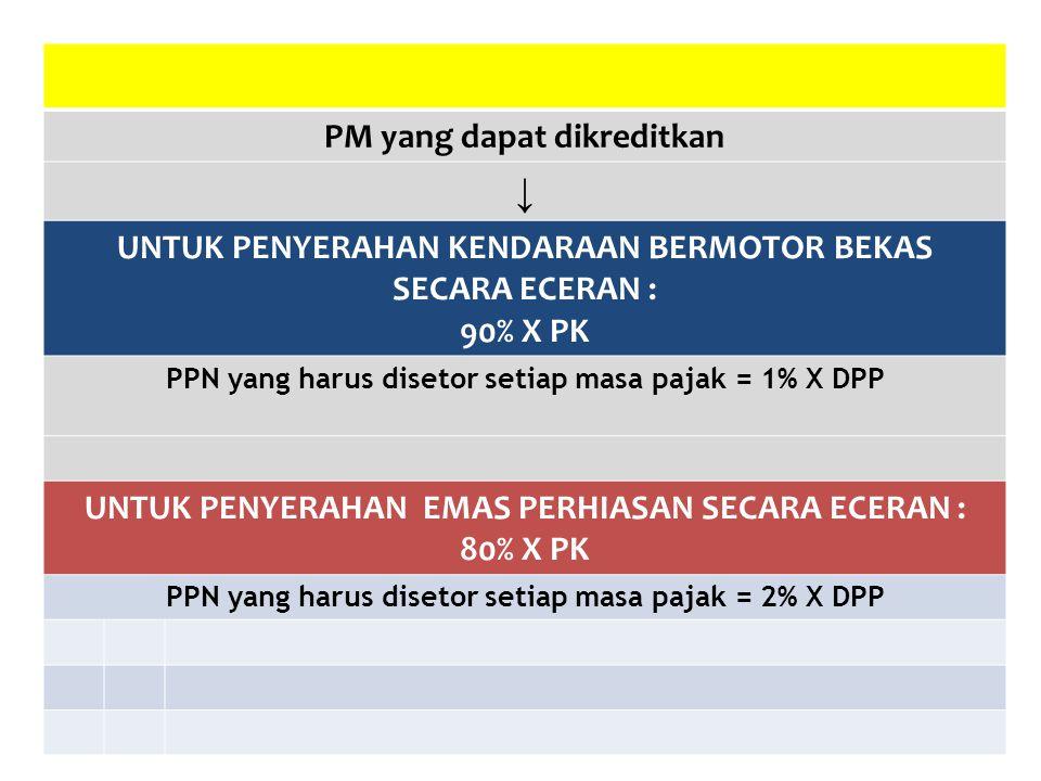 PM yang dapat dikreditkan ↓ UNTUK PENYERAHAN KENDARAAN BERMOTOR BEKAS SECARA ECERAN : 90% X PK PPN yang harus disetor setiap masa pajak = 1% X DPP UNT