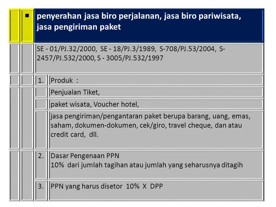 ■ penyerahan jasa biro perjalanan, jasa biro pariwisata, jasa pengiriman paket SE - 01/PJ.32/2000, SE - 18/PJ.3/1989, S-708/PJ.53/2004, S- 2457/PJ.532